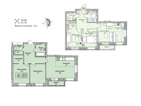 Планировки Жилой комплекс ЭВОЛЮЦИЯ, 1 оч, дом 1 - Планировка трехкомнатной квартиры 67,7 кв.м