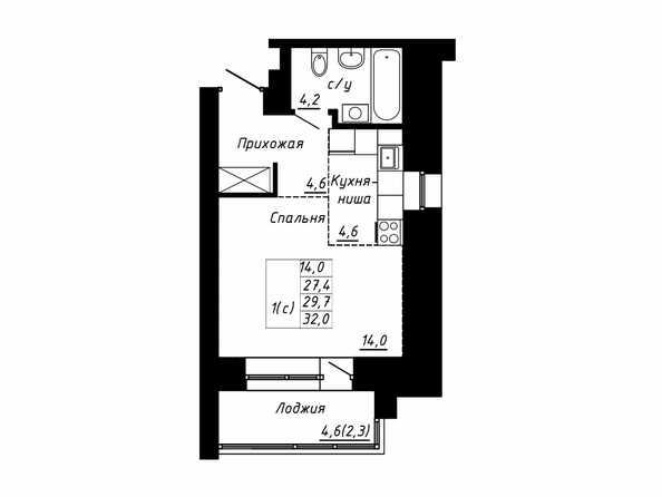 Планировка 1-комн 29,7, 32 м²
