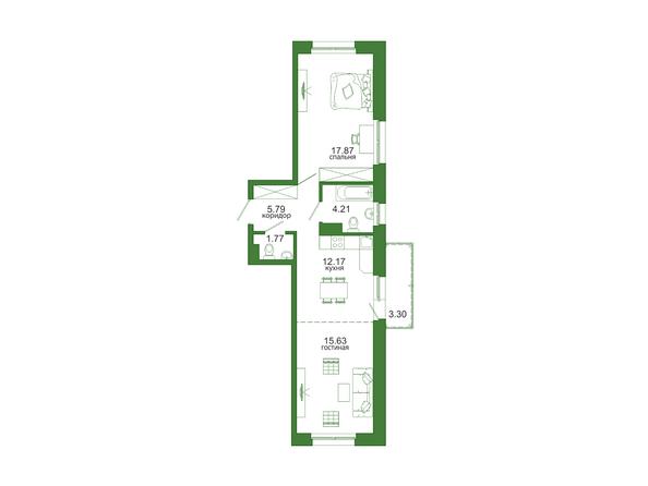 2-комнатная 60,9 кв.м