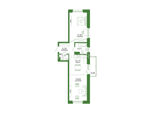 Планировка 2-комн 60,74, 60,9 м²