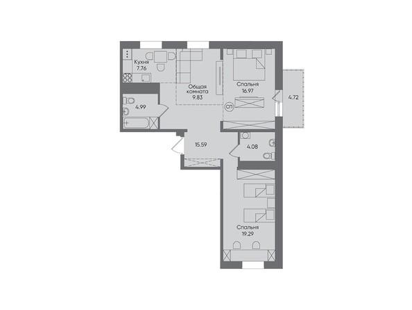 3-комнатная 83,23 кв.м