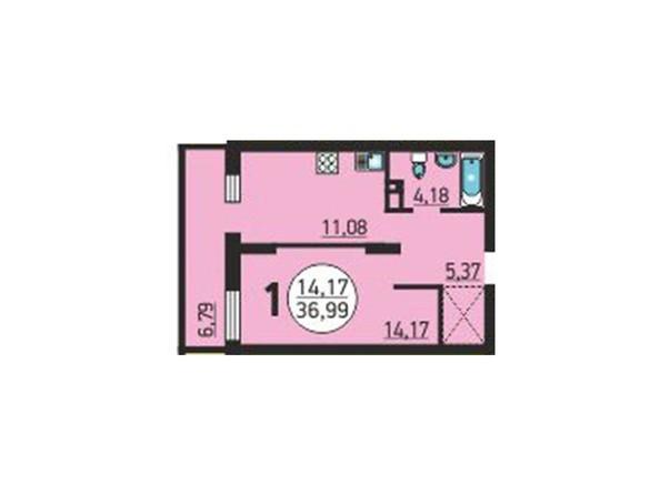 Планировка 1-комнатной квартиры 36,99 кв.м