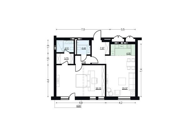 Планировки Жилой комплекс ЖУКОВКА, б/с 7,8 - Планировка двухкомнатной квартиры 81,3 кв.м