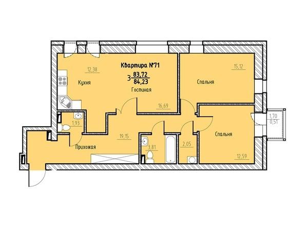 Планировка 3-комн 83,72, 84,23 м²
