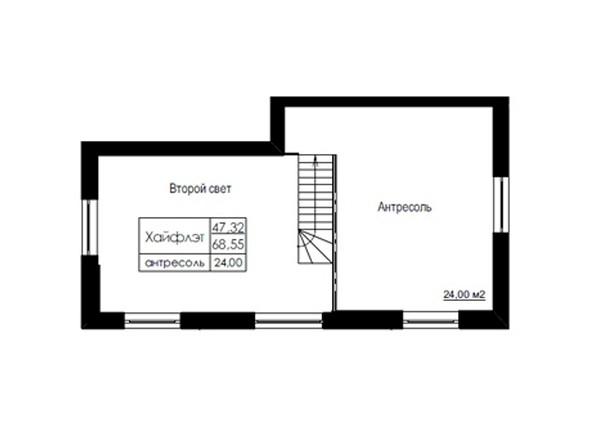 Планировки Жилой комплекс ДОМ НА БЕРЕЗОВОЙ РОЩЕ - Планировка трехкомнатной квартиры 68,54 кв.м. Уровень 2
