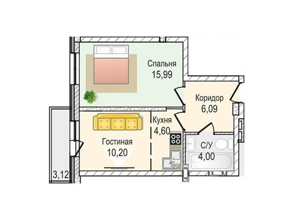 Планировки Жилой комплекс КрымSky, дом 7 - 2-комнатная 40,88 кв.м