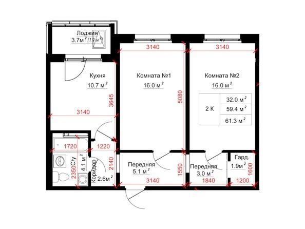 Планировки ТИТАН - Планировка двухкомнатной квартиры 61,3 кв.м