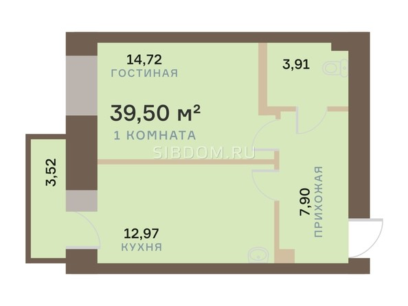Планировка 1-комн 39,5 м²