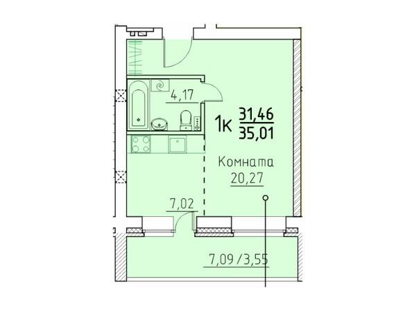 1-комнатная 35.01 кв.м