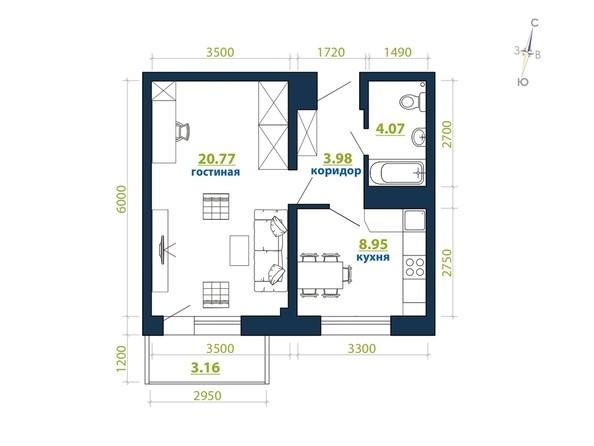 Планировка 1-комн 40,93, 41,41 м²