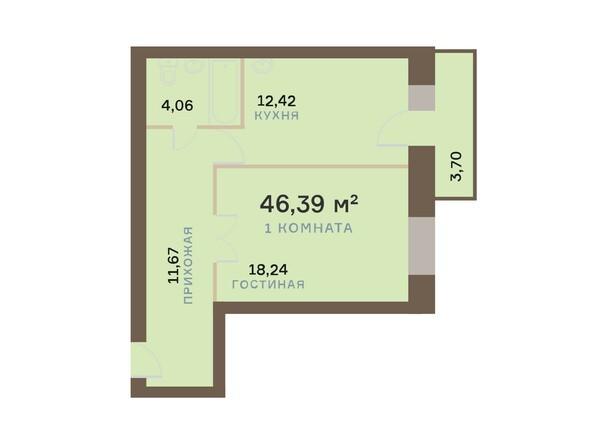 Планировки Жилой комплекс ЮЖНЫЙ БЕРЕГ, дом 17 - Планировка однокомнатной квартиры 47,5 кв.м