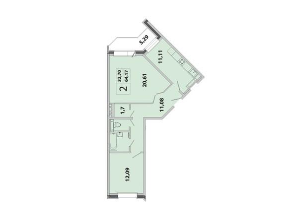 Планировка 2-комн 64,17 м²