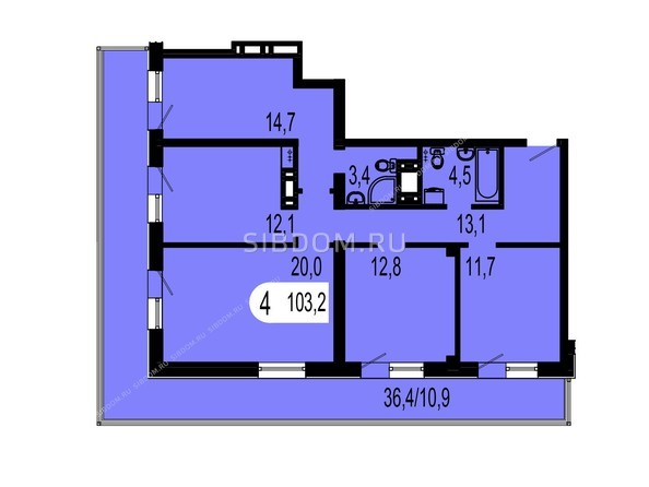 Планировки Жилой комплекс ТИХИЕ ЗОРИ, дом 1 (Красстрой) - Планировка четырехкомнатной квартиры 103,2 кв.м