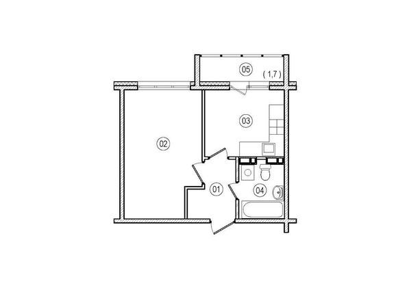Планировки ВЕРХНИЙ БУЛЬВАР-2, дом 60, корпус 1 - 1-комнатная 33,5 кв.м