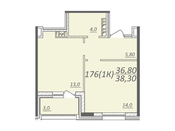 Планировка 1-комнатной квартиры 38,3 кв.м