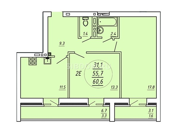2-комнатная 55,7 кв.м