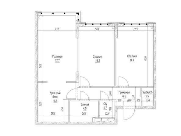 Планировка 3-комн 73,8 м²