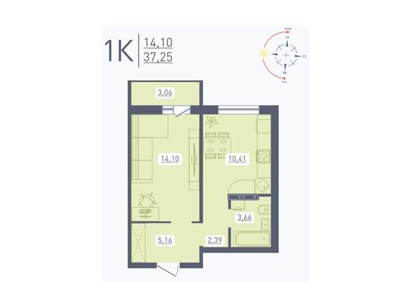 Планировка 1-комн 37,25 м²