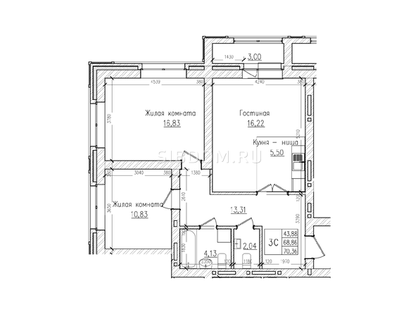 Планировки Жилой комплекс КРАСНЫЙ ПРОСПЕКТ, дом 4 - 3-комнатная 68,8 кв.м