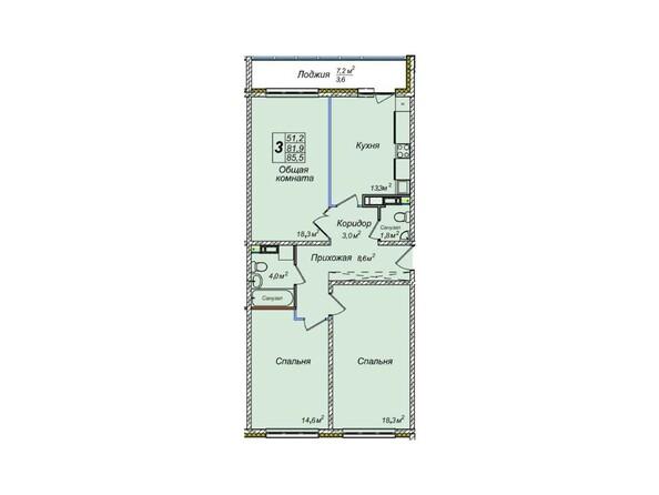 Планировки Жилой комплекс ВЕНЕЦИЯ-2, дом 8 - 3-комнатная 85,5 кв.м