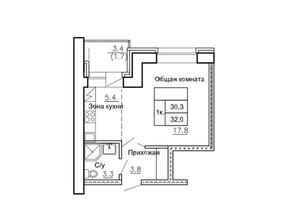 Планировки Жилой комплекс НОВАЯ ПРИСТАНЬ, 4 - Планировка однокомнатной квартиры 32 кв.м