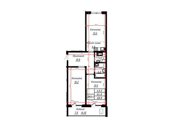 3-комнатная 68,8 кв.м
