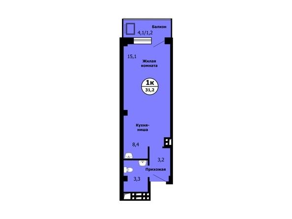 Планировка Студия 31,2, 31,4 м²