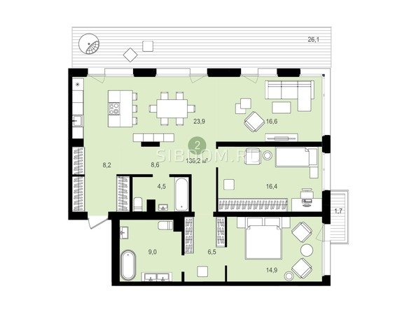 Планировка 3-комн 136,2, 136,24 м²