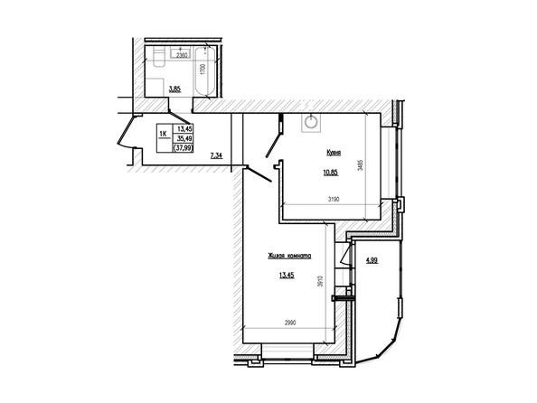 Планировка 1-комн 37,99 м²