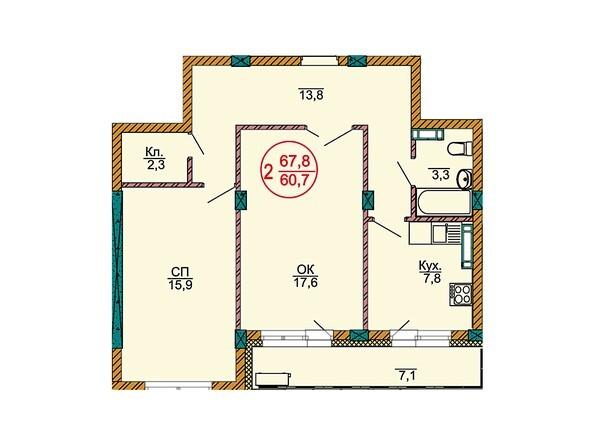 Планировки Жилой комплекс НОВЫЕ ЧЕРЁМУШКИ - Планировка двухкомнатной квартиры 67,8 кв.м