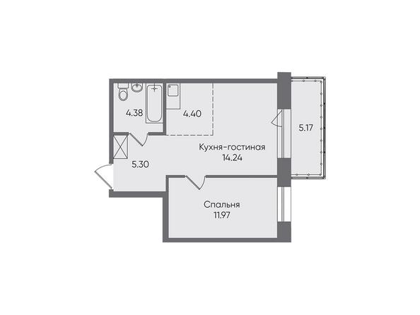 Планировки Жилой комплекс НОВЫЕ ГОРИЗОНТЫ, б/с 1 - Планировка двухкомнатной квартиры 45,46 кв.м