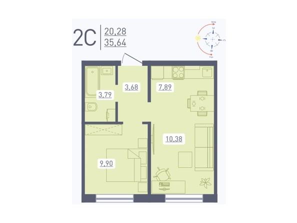 Планировка 2-комн 35,64 м²