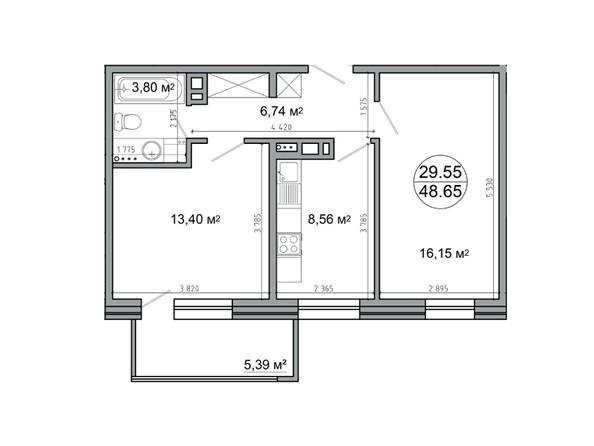 Планировка 2-комн 48,65 м²
