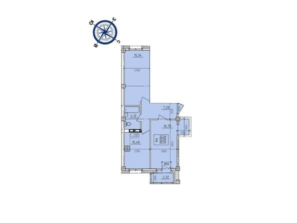 Планировки Жилой комплекс ИРКУТСКИЙ ДВОРИК-2,  б/с 1-3 - Планировка двухкомнатной квартиры 56,24 кв.м