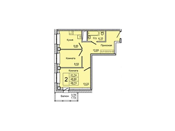 Планировки Жилой комплекс НА ДУДИНСКОЙ, дом 2  - Планировка двухкомнатной квартиры 49,73 кв.м
