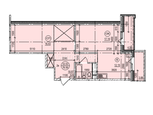 Планировка 2-комн 76,87 м²