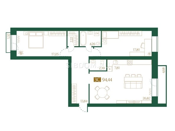 Планировка 3-комн 94,44 м²