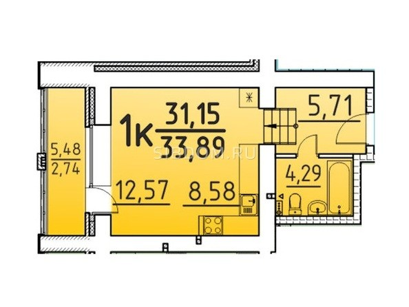 Планировка 1-комн 33,89 м²
