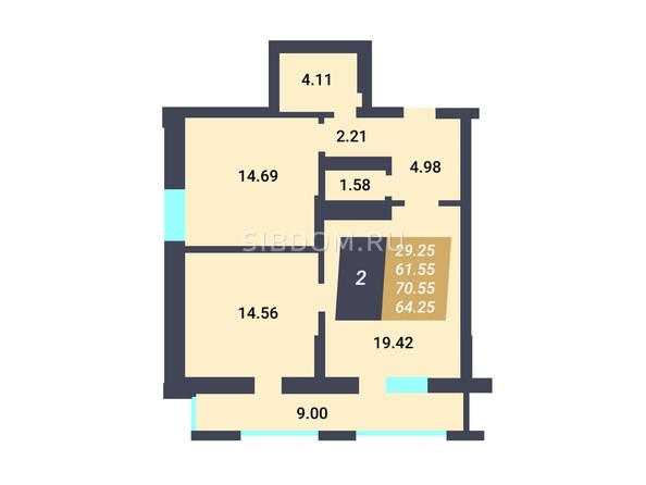 Планировка 2-комн 61,55 м²
