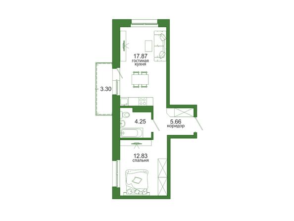 Планировка 1-комн 43,91 м²