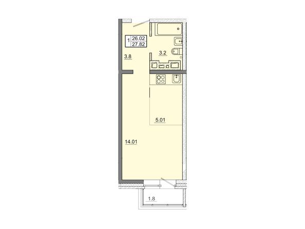 1-комнатная 27,82 кв.м