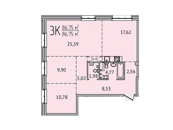 3-комнатная 86,75 кв.м