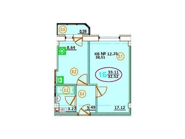 Планировка 1-комн 33,11 м²