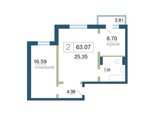 Планировка 2-комн 63 - 63,28 м²