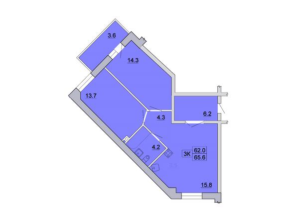 Планировка 3-комн 65,59, 65,6 м²