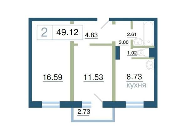 Планировка 2-комн 49,12 - 49,2 м²