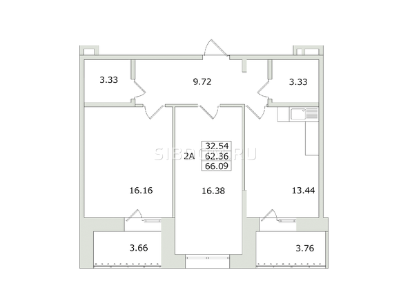 Планировки Жилой комплекс СЕМЬЯ, 1 оч - 2-комнатная 66,09 кв.м