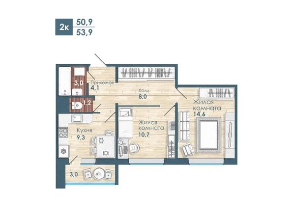 Планировка 2-комн 53,9 м²