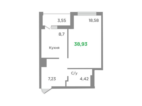 Планировки Жилой комплекс ЯСНЫЙ БЕРЕГ, дом 10, б/с 1-3  - Планировка однокомнатной квартиры 38,93 кв.м