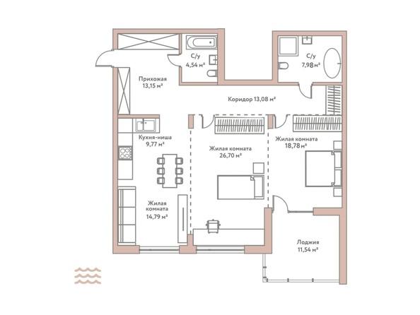 Планировка 3-комн 110,98 м²
